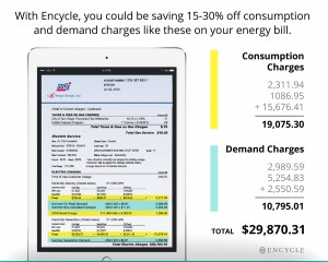 sample bill of savings on energy bill with Encycle's Swarm Logic that cuts consumption and demand charges by 15-30% on average